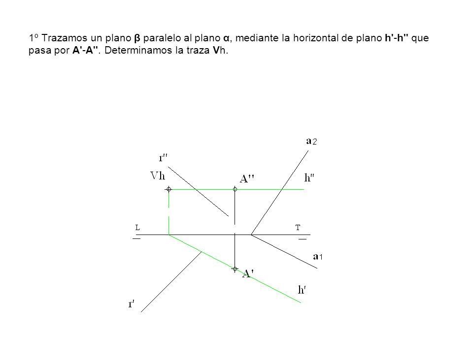 1º Trazamos un plano β paralelo al plano α, mediante la horizontal de plano h'-h'' que pasa por A'-A''. Determinamos la traza Vh.