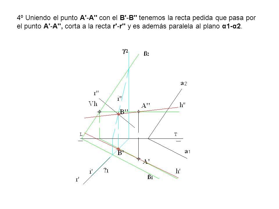 4º Uniendo el punto A'-A'' con el B'-B'' tenemos la recta pedida que pasa por el punto A'-A'', corta a la recta r'-r'' y es además paralela al plano α
