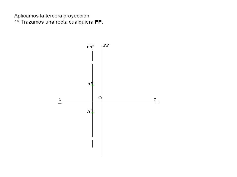2º Hallamos las trazas de las rectas paralelas trazadas por el punto A -A , Vr1 -Hr1 y Vs1.