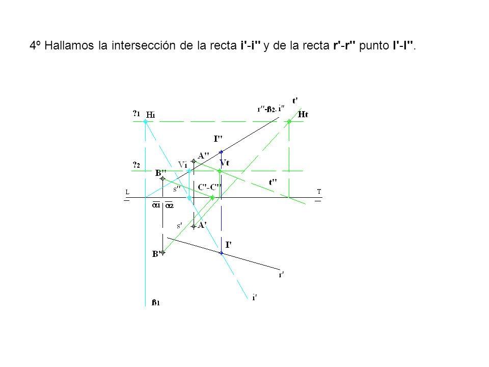 4º Hallamos la intersección de la recta i'-i'' y de la recta r'-r'' punto I'-I''.