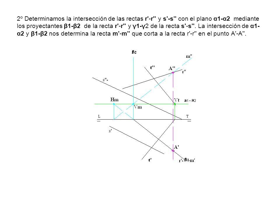 2º Determinamos la intersección de las rectas r'-r'' y s'-s'' con el plano α1-α2 mediante los proyectantes β1-β2 de la recta r'-r'' y γ1-γ2 de la rect