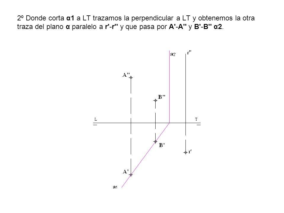 2º Donde corta α1 a LT trazamos la perpendicular a LT y obtenemos la otra traza del plano α paralelo a r'-r'' y que pasa por A'-A'' y B'-B'' α2.