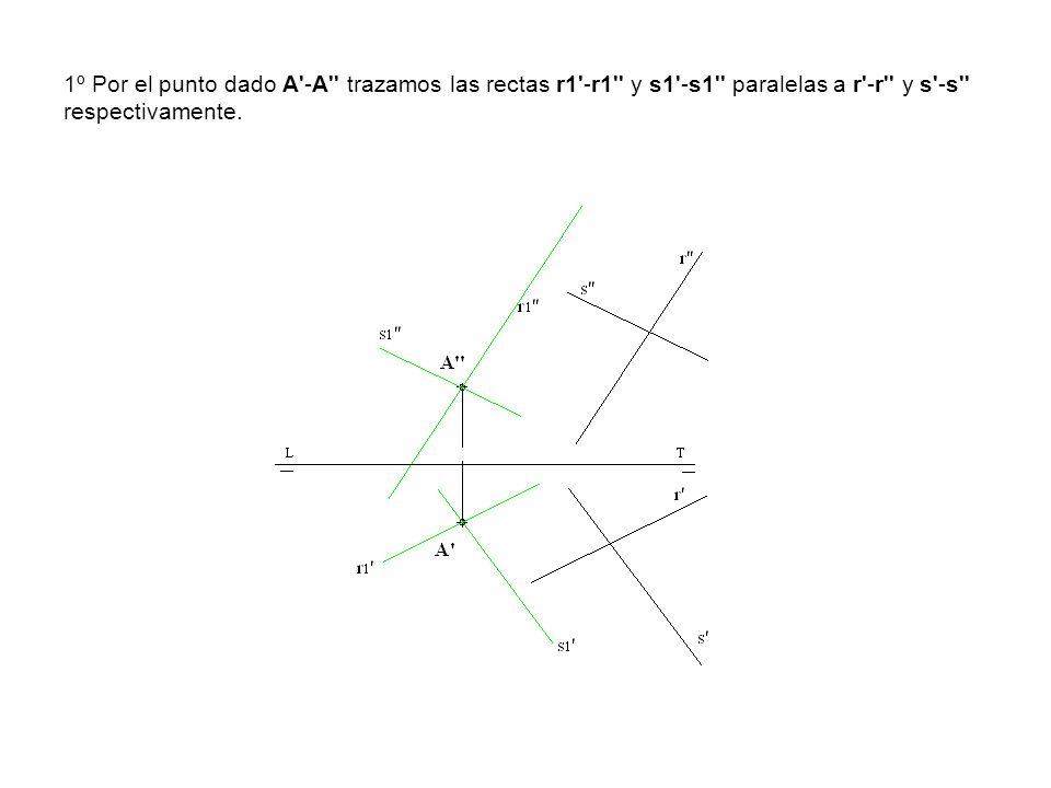 1º Por el punto dado A'-A'' trazamos las rectas r1'-r1'' y s1'-s1'' paralelas a r'-r'' y s'-s'' respectivamente.