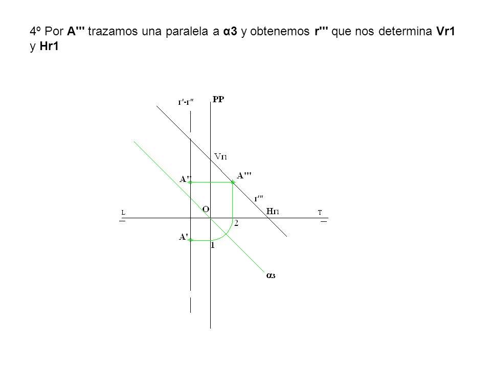 5º Desabatimos Vr1 y Hr1 y tenemos las trazas Vr y Hr de la recta r que pasa por A y es paralela al 2º bisector.