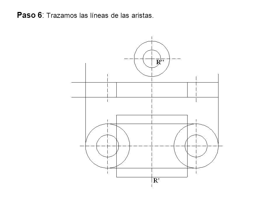 Paso 6: Trazamos las líneas de las aristas.