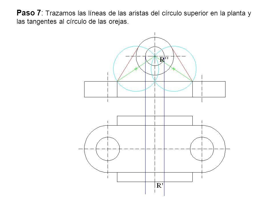 Paso 7: Trazamos las líneas de las aristas del círculo superior en la planta y las tangentes al círculo de las orejas.