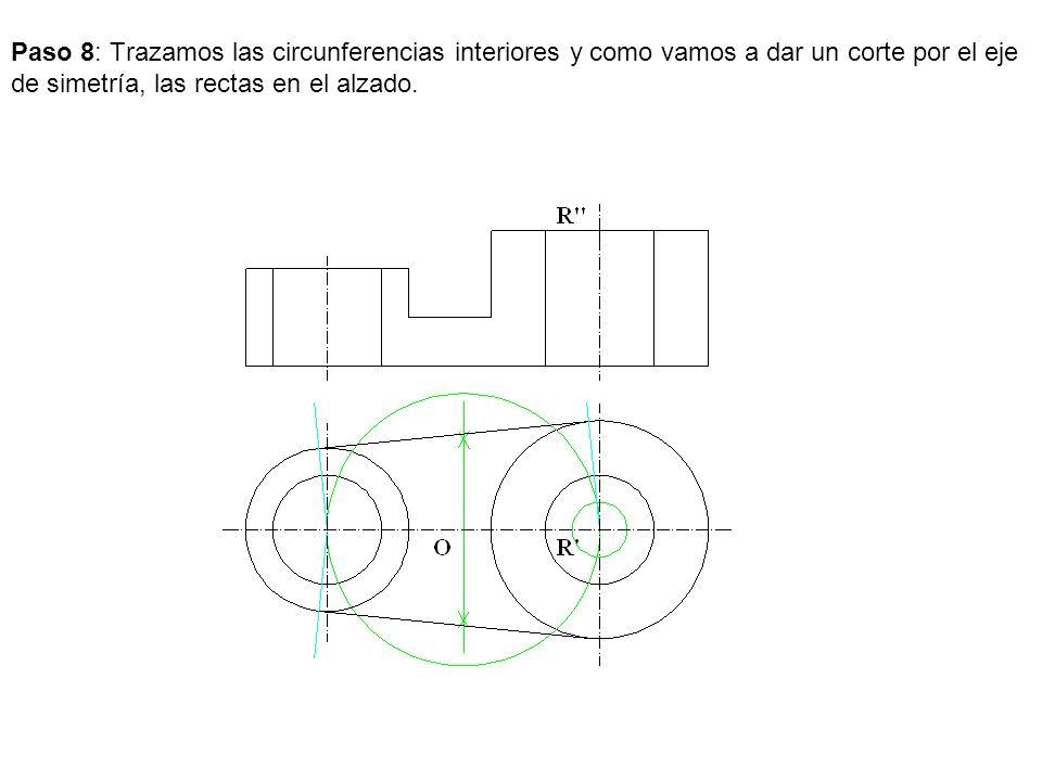 Paso 8: Trazamos las circunferencias interiores y como vamos a dar un corte por el eje de simetría, las rectas en el alzado.