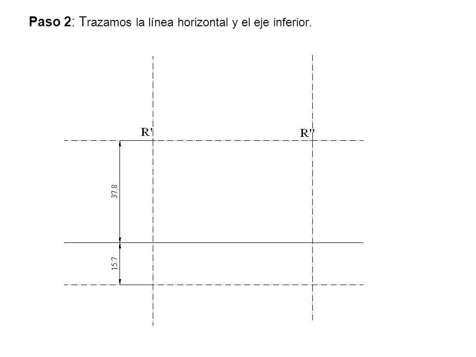 Paso 2: T razamos la línea horizontal y el eje inferior.