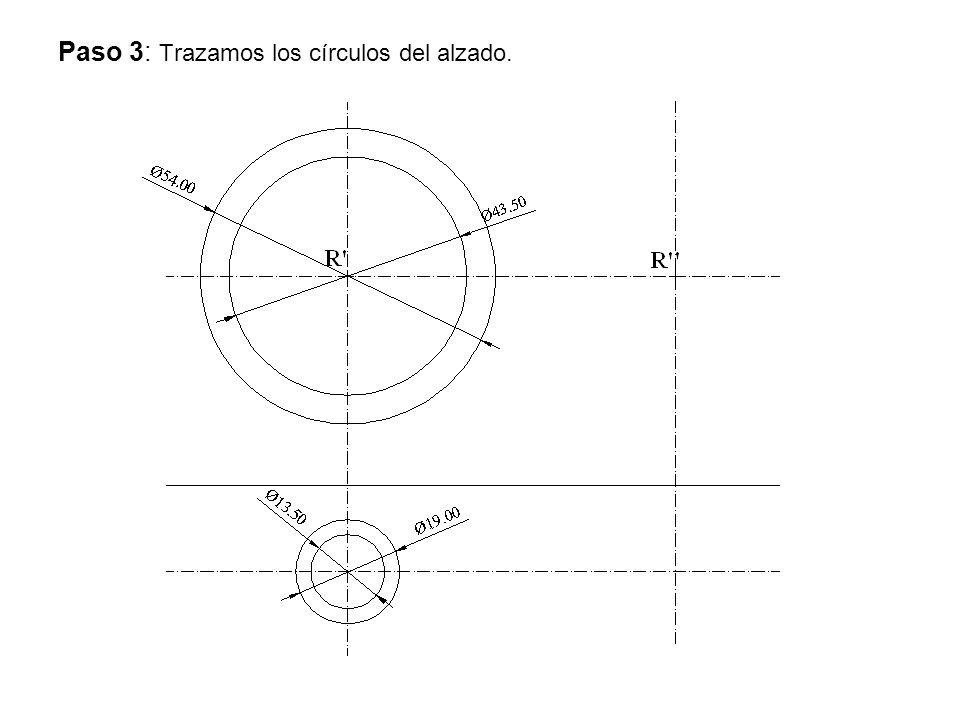 Paso 3: Trazamos los círculos del alzado.