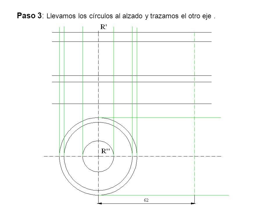 Paso 3: Llevamos los círculos al alzado y trazamos el otro eje.