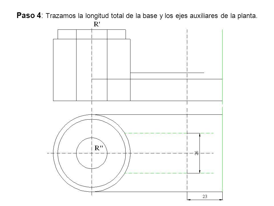 Paso 4: Trazamos la longitud total de la base y los ejes auxiliares de la planta.