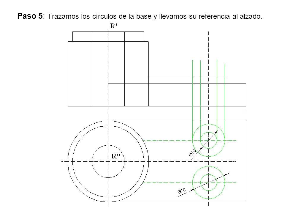 Paso 5: Trazamos los círculos de la base y llevamos su referencia al alzado.