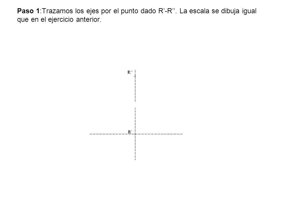 Paso 1:Trazamos los ejes por el punto dado R-R. La escala se dibuja igual que en el ejercicio anterior.