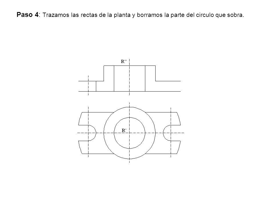 Paso 4: Trazamos las rectas de la planta y borramos la parte del circulo que sobra.