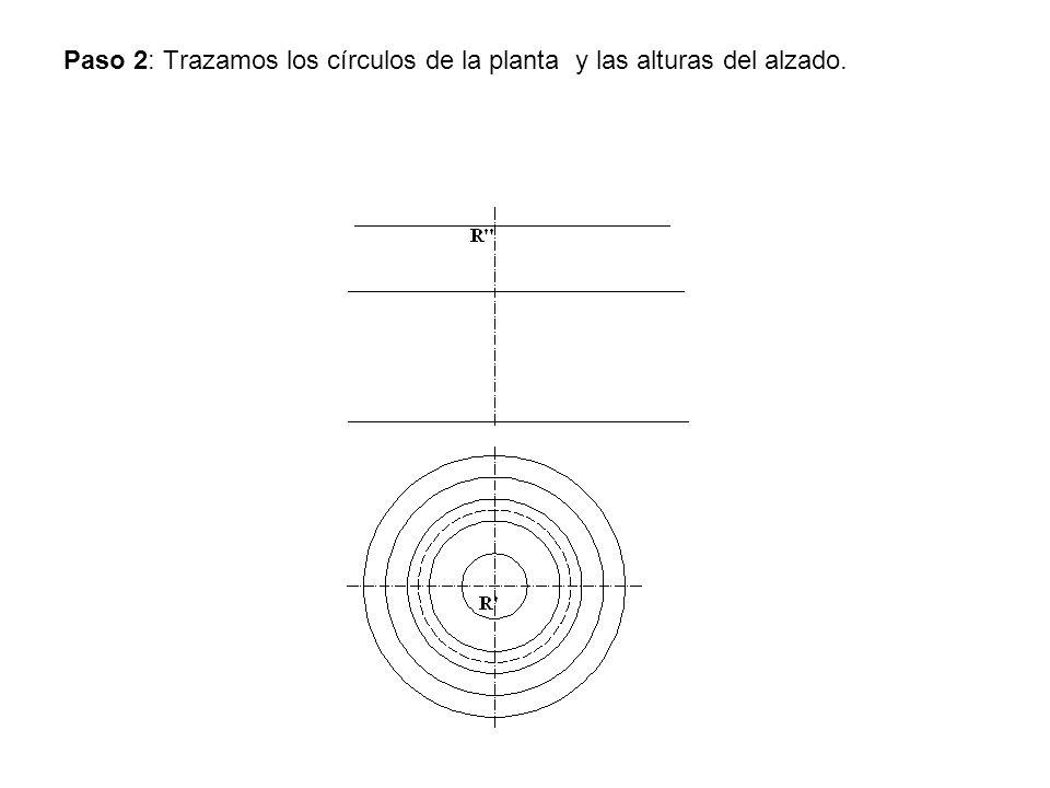 Paso 2: Trazamos los círculos de la planta y las alturas del alzado.