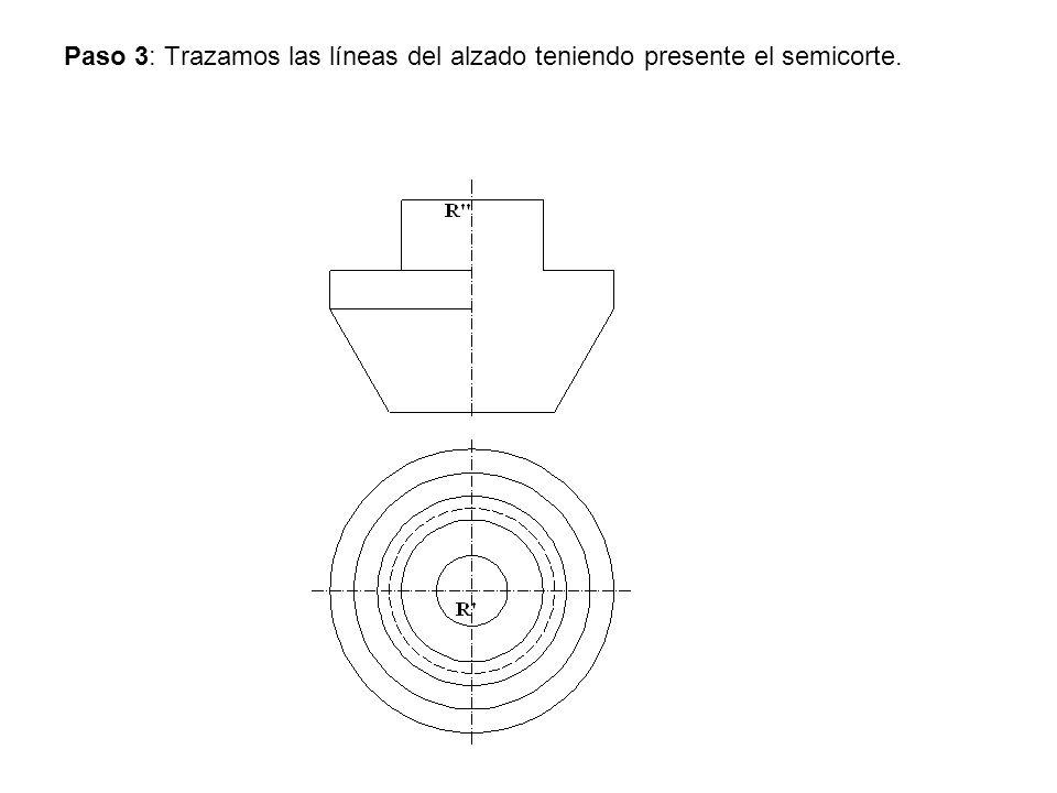Paso 3: Trazamos las líneas del alzado teniendo presente el semicorte.