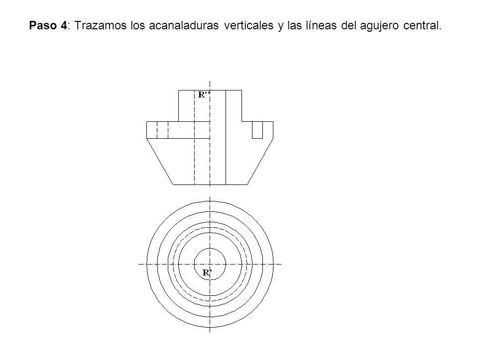 Paso 4: Trazamos los acanaladuras verticales y las líneas del agujero central.