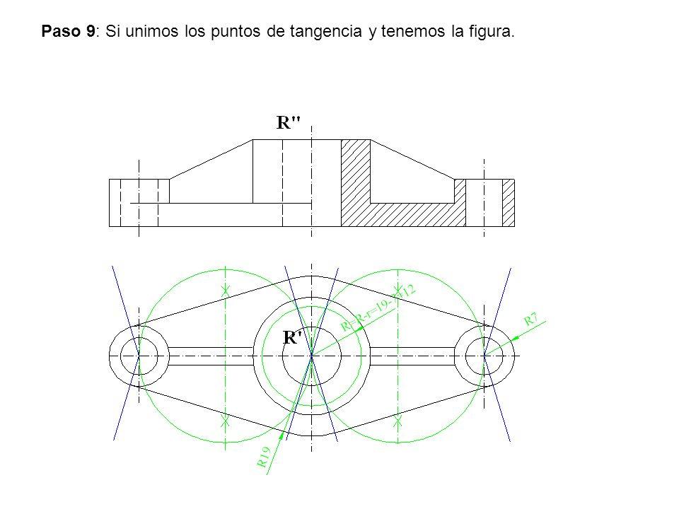 Paso 9: Si unimos los puntos de tangencia y tenemos la figura.