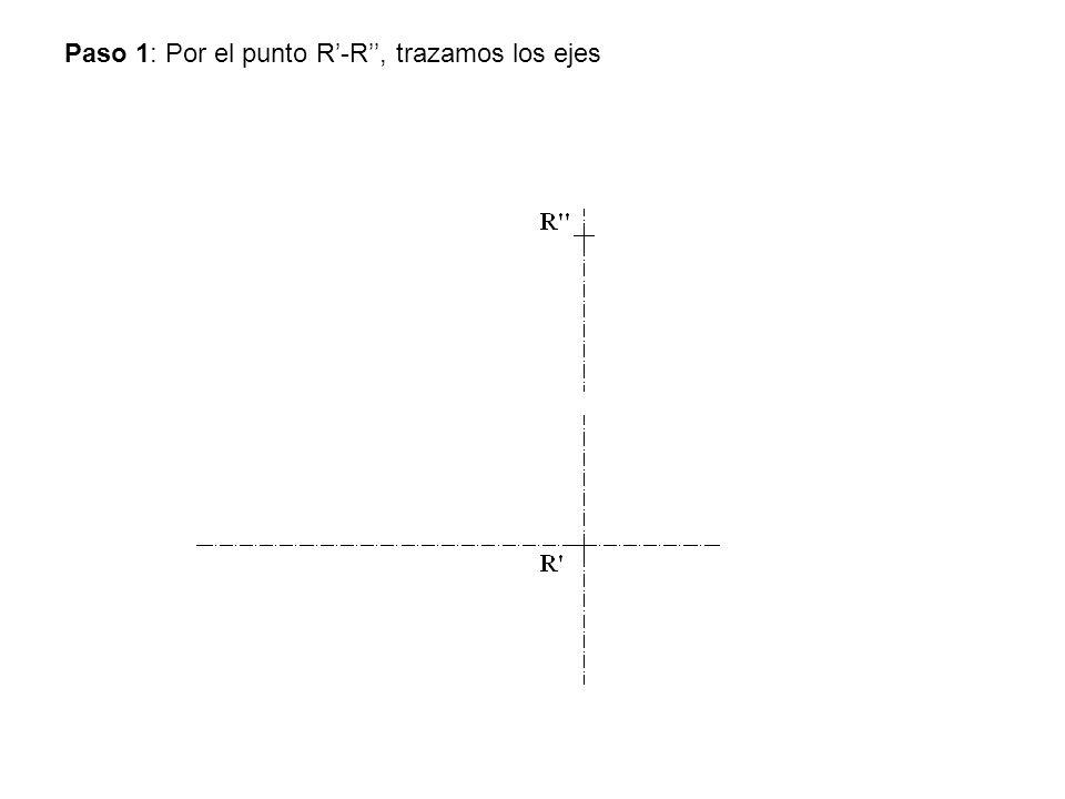 Paso 1: Por el punto R-R, trazamos los ejes