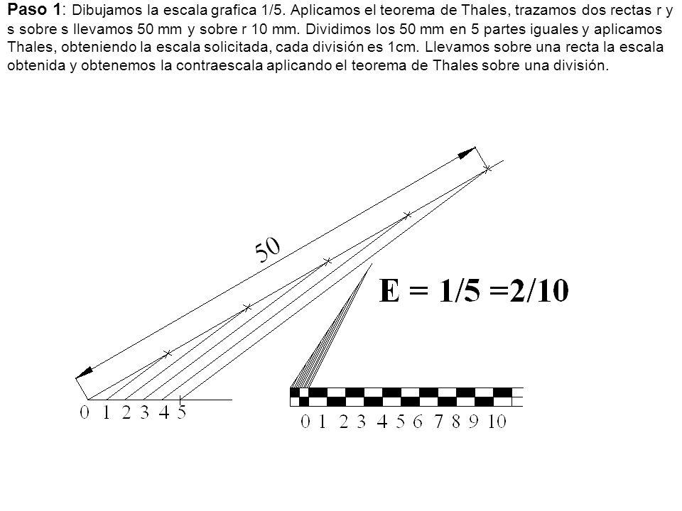 Paso 1: Dibujamos la escala grafica 1/5. Aplicamos el teorema de Thales, trazamos dos rectas r y s sobre s llevamos 50 mm y sobre r 10 mm. Dividimos l