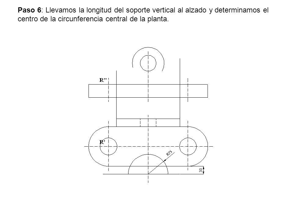 Paso 6: Llevamos la longitud del soporte vertical al alzado y determinamos el centro de la circunferencia central de la planta.