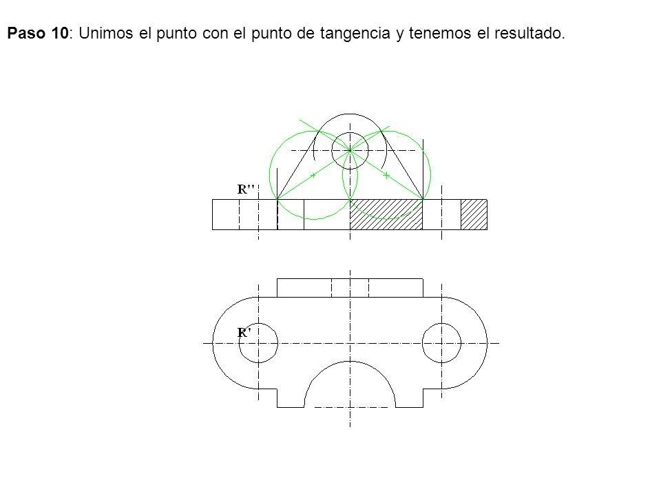Paso 10: Unimos el punto con el punto de tangencia y tenemos el resultado.