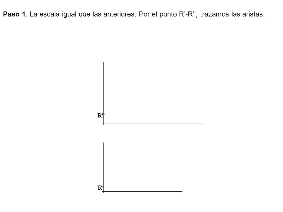 Paso 1: La escala igual que las anteriores. Por el punto R-R, trazamos las aristas.