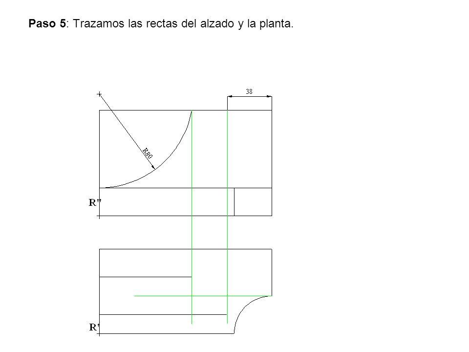 Paso 5: Trazamos las rectas del alzado y la planta.