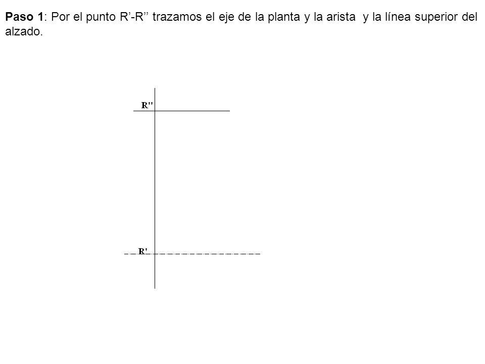 Paso 1: Por el punto R-R trazamos el eje de la planta y la arista y la línea superior del alzado.