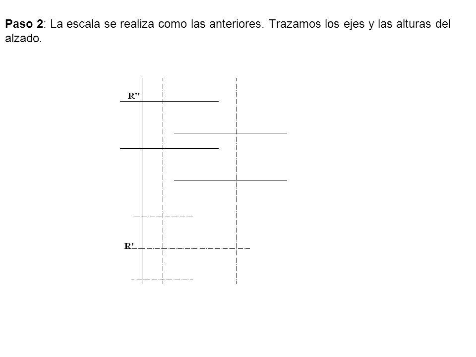 Paso 2: La escala se realiza como las anteriores. Trazamos los ejes y las alturas del alzado.