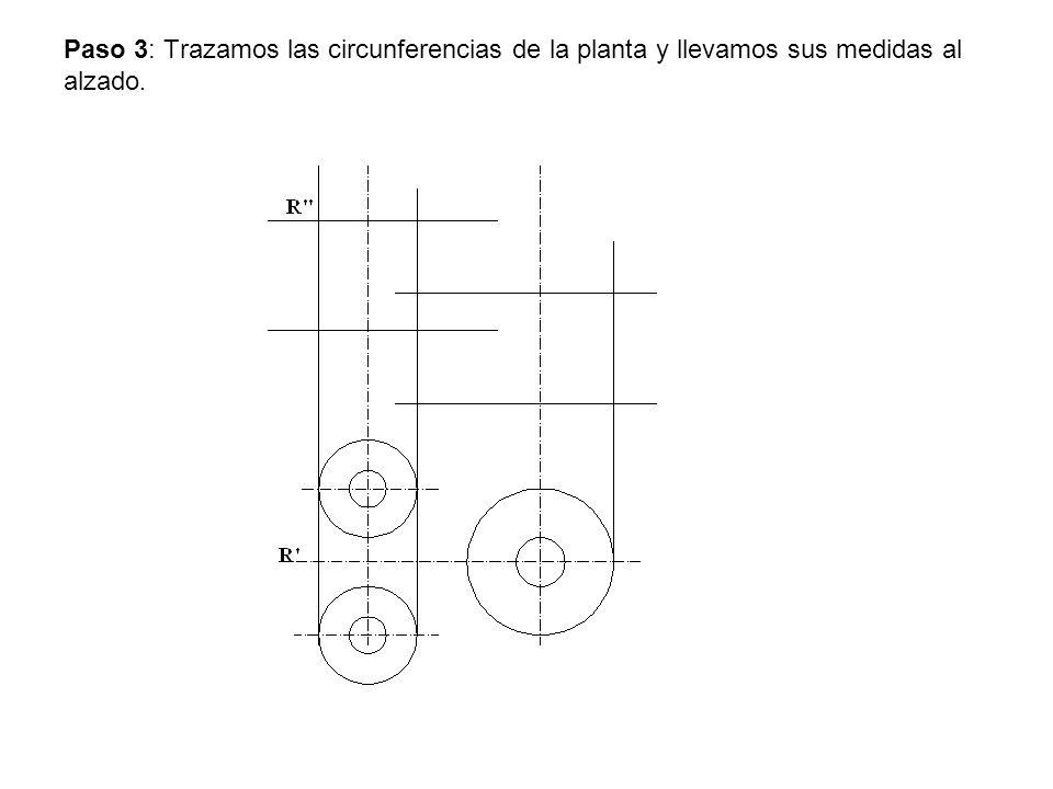 Paso 3: Trazamos las circunferencias de la planta y llevamos sus medidas al alzado.