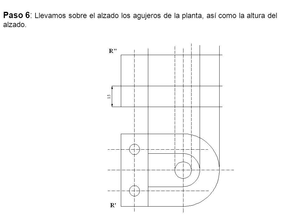 Paso 6: Llevamos sobre el alzado los agujeros de la planta, así como la altura del alzado.