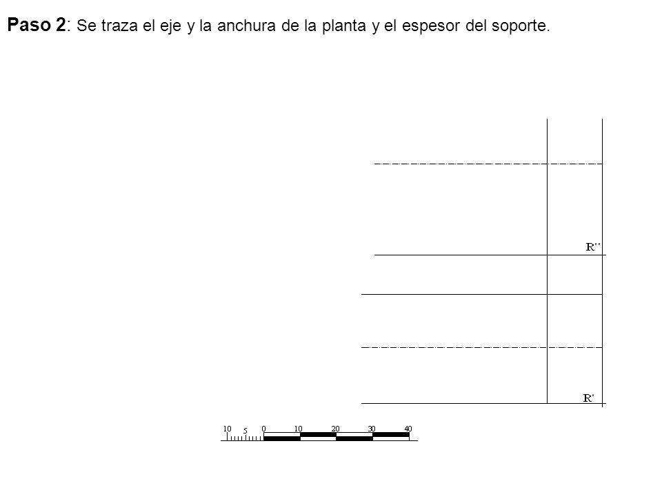 Paso 2: Se traza el eje y la anchura de la planta y el espesor del soporte.