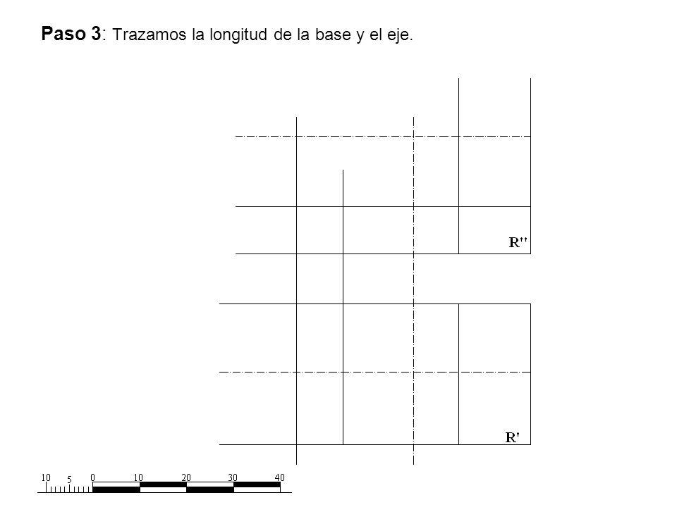 Paso 3: Trazamos la longitud de la base y el eje.