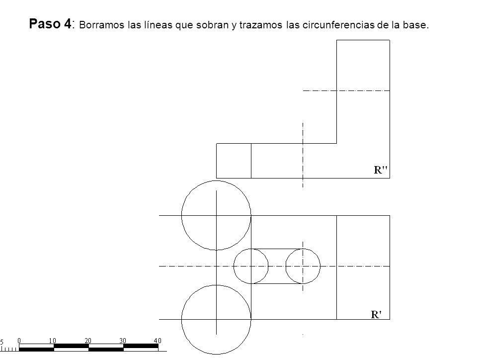 Paso 4: Borramos las líneas que sobran y trazamos las circunferencias de la base.
