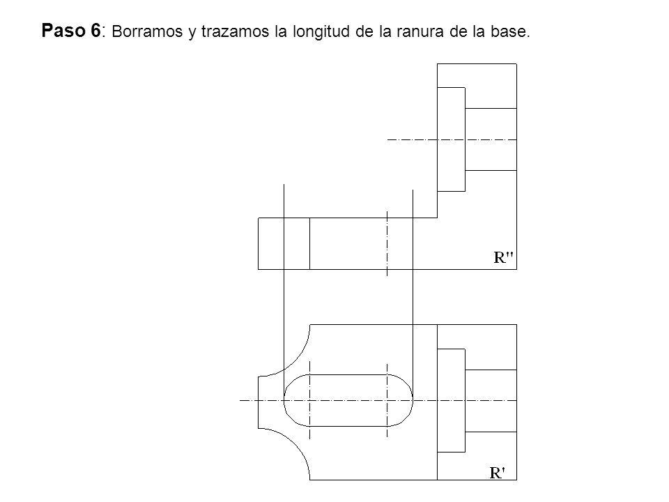 Paso 6: Borramos y trazamos la longitud de la ranura de la base.