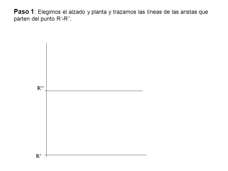 Paso 1: Elegimos el alzado y planta y trazamos las líneas de las aristas que parten del punto R-R.