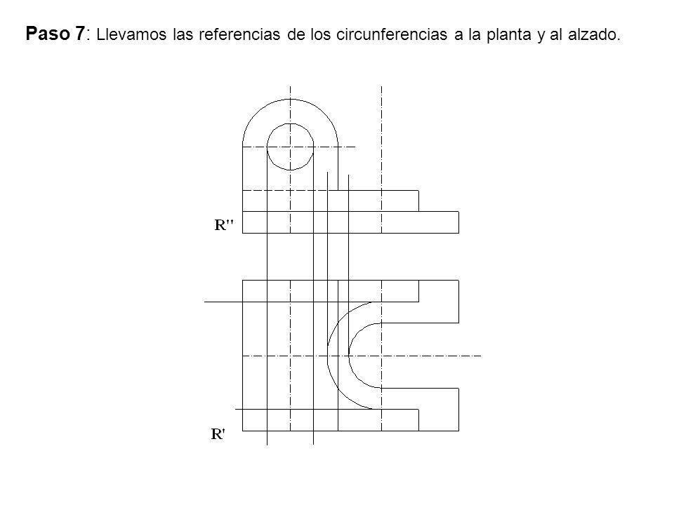 Paso 7: Llevamos las referencias de los circunferencias a la planta y al alzado.