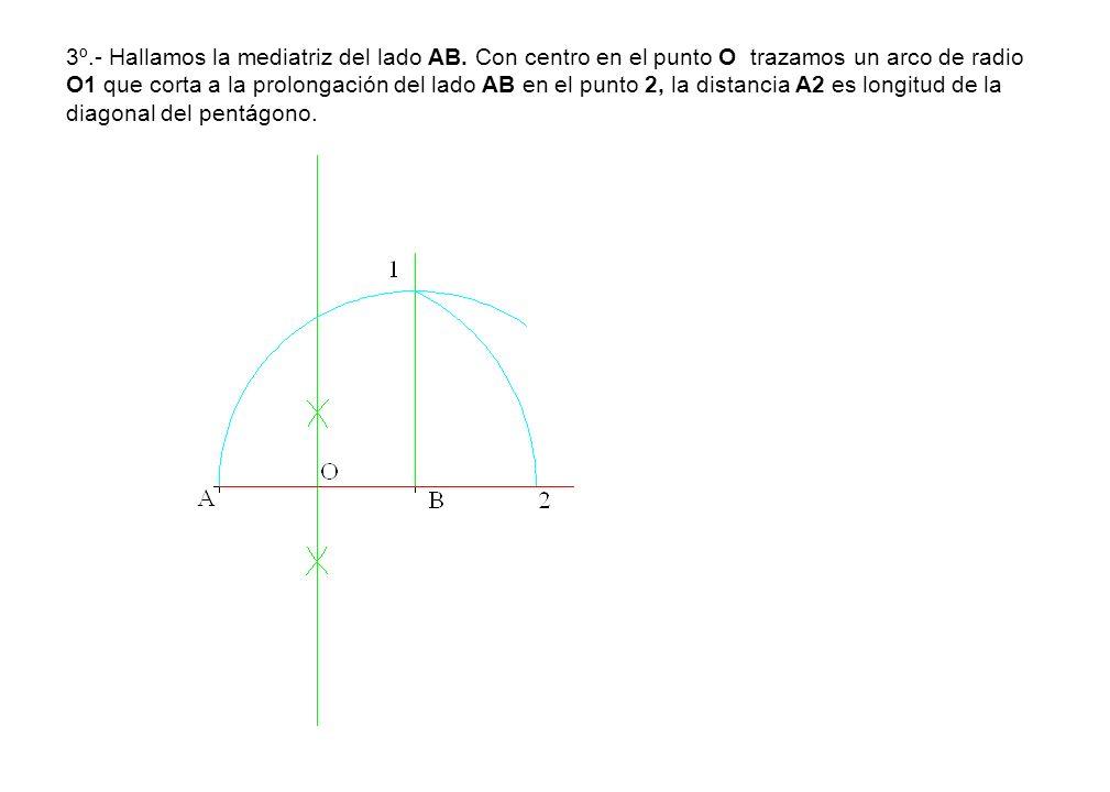 3º.- Hallamos la mediatriz del lado AB. Con centro en el punto O trazamos un arco de radio O1 que corta a la prolongación del lado AB en el punto 2, l