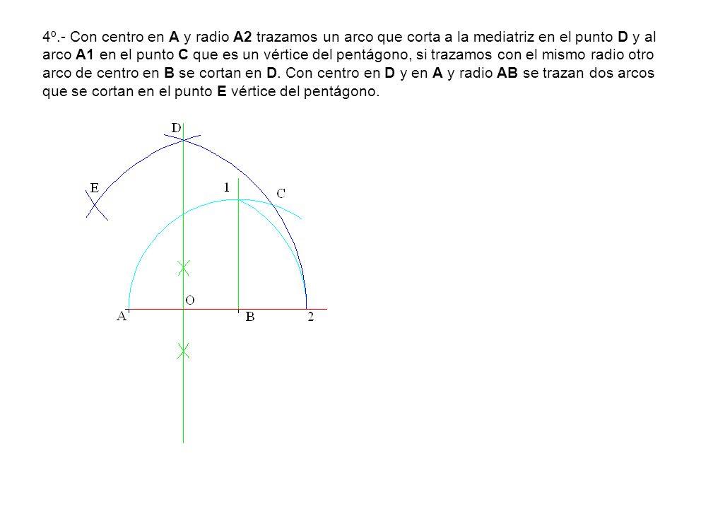 4º.- Con centro en A y radio A2 trazamos un arco que corta a la mediatriz en el punto D y al arco A1 en el punto C que es un vértice del pentágono, si