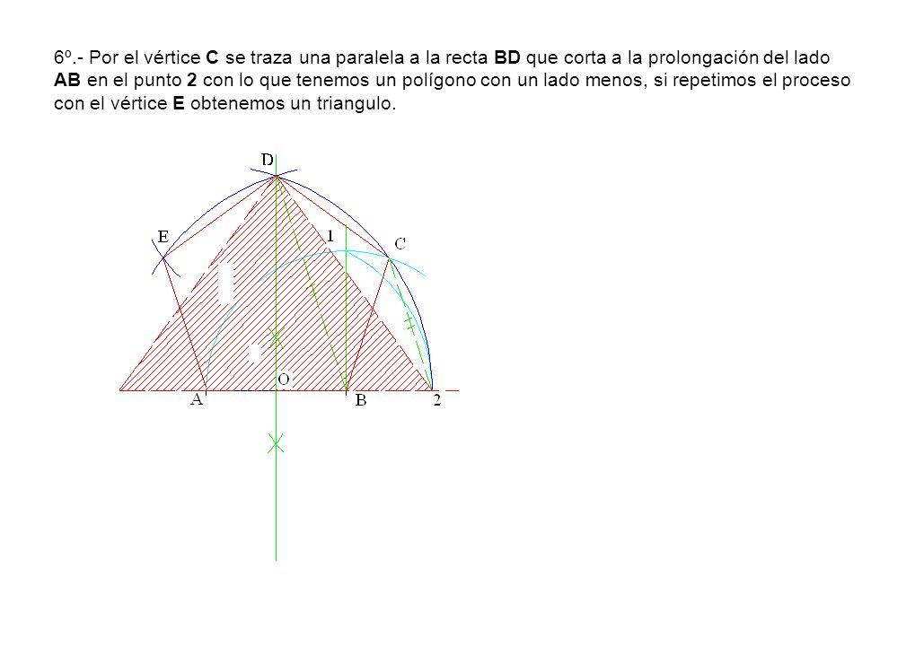 6º.- Por el vértice C se traza una paralela a la recta BD que corta a la prolongación del lado AB en el punto 2 con lo que tenemos un polígono con un