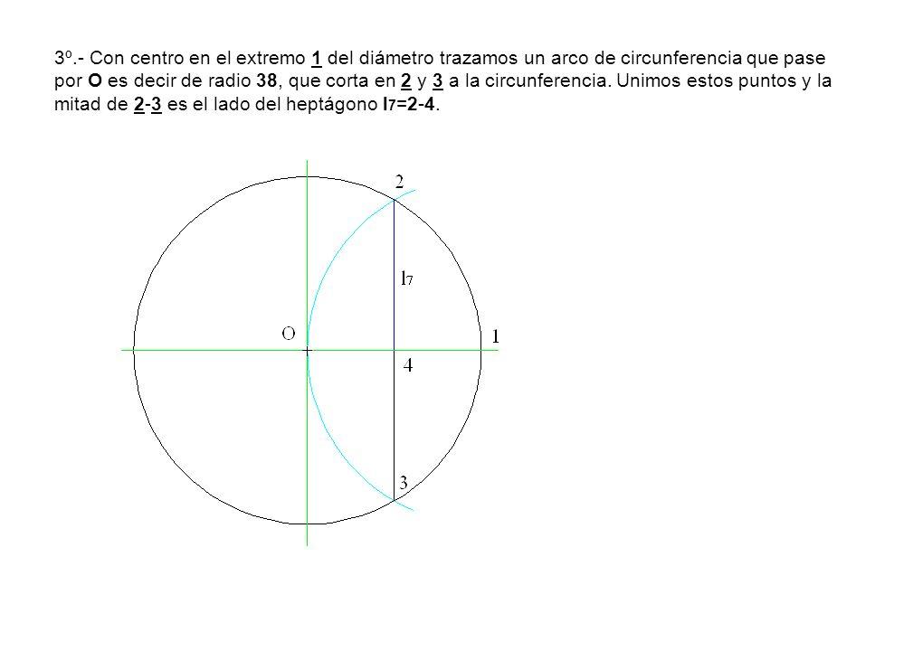 3º.- Con centro en el extremo 1 del diámetro trazamos un arco de circunferencia que pase por O es decir de radio 38, que corta en 2 y 3 a la circunfer