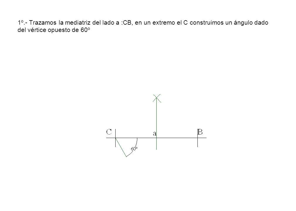 1º.- Trazamos la mediatriz del lado a :CB, en un extremo el C construimos un ángulo dado del vértice opuesto de 60º