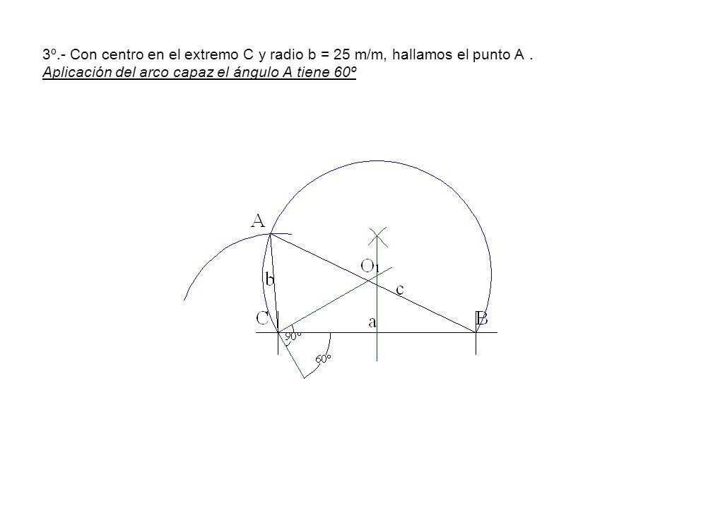3º.- Con centro en el extremo C y radio b = 25 m/m, hallamos el punto A. Aplicación del arco capaz el ángulo A tiene 60º