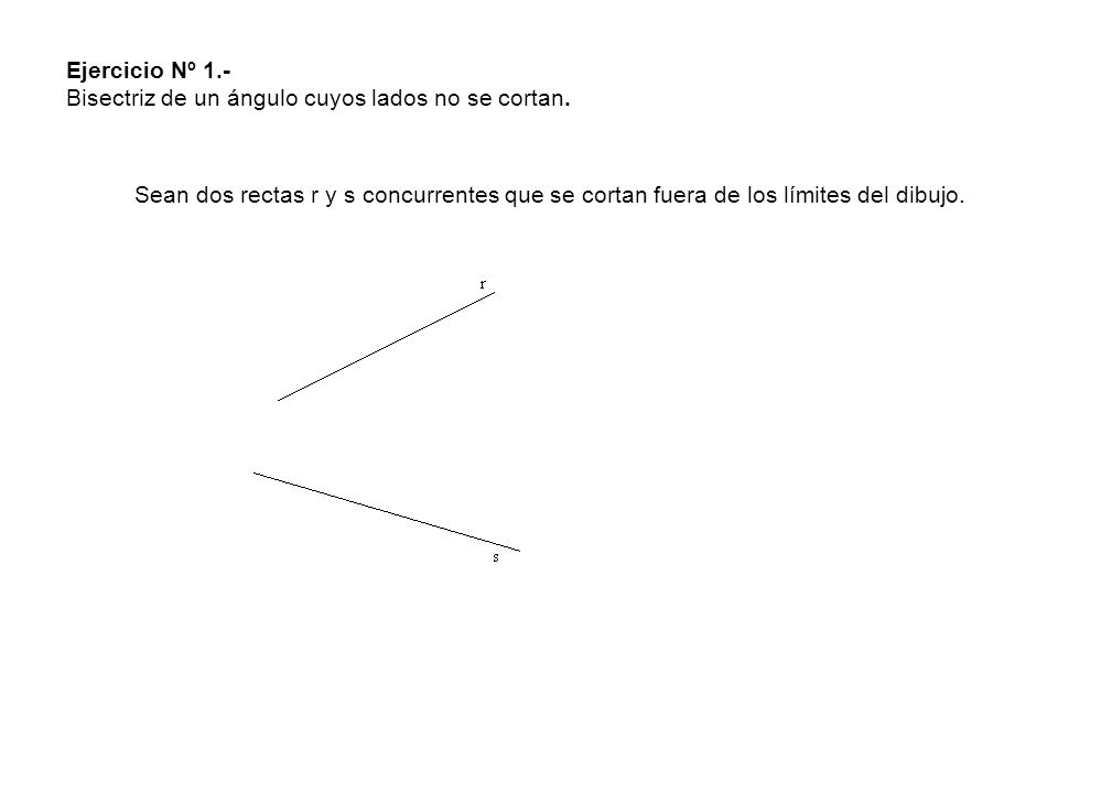 Ejercicio Nº 1.- Bisectriz de un ángulo cuyos lados no se cortan. Sean dos rectas r y s concurrentes que se cortan fuera de los límites del dibujo.
