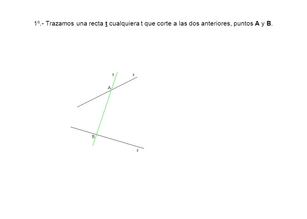 Trazamos por A y por B una perpendicular a los ángulos construidos, seguidamente trazamos las mediatrices de A-B y B-C que se cortan con las perpendiculares anteriores en los centros O 1 y O 2