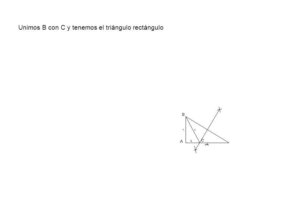 Unimos B con C y tenemos el triángulo rectángulo