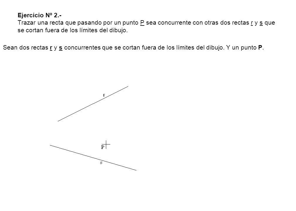 2º.- Trazamos una perpendicular al ángulo de 60º antes trazado, que corta a la mediatriz del lado CB en el punto O 1, centro del arco capaz del segmento CB