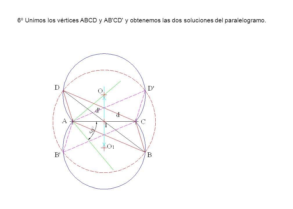 6º Unimos los vértices ABCD y AB'CD' y obtenemos las dos soluciones del paralelogramo.