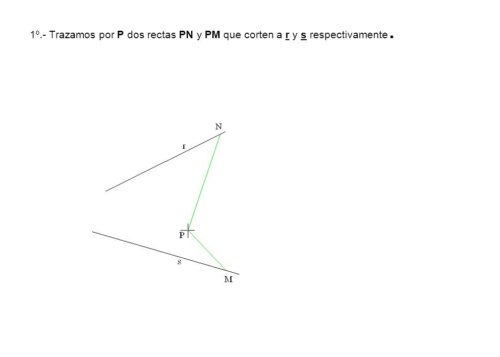 3º.- Con centro en el extremo C y radio b = 25 m/m, hallamos el punto A.
